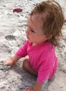 I wasn't kidding.  Girl loves some sand.